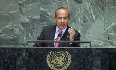 Mexico's Felipe Calderon addressing the United Nations