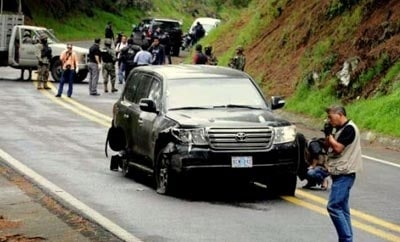 The scene of the attack on CIA agents in central Mexico