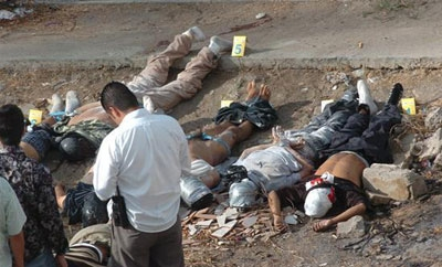 The scene of a homicide in Mexico