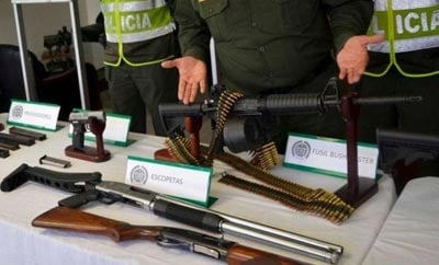 Police display weapons seized from