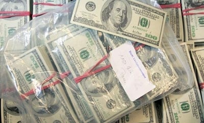 Laundered US dollars seized by Mexican officials