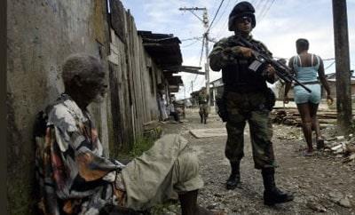 A soldier patrols in Buenaventura
