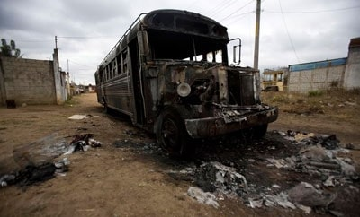A burned bus in Guatemala
