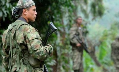 FARC members at a guerrilla checkpoint in Cauca