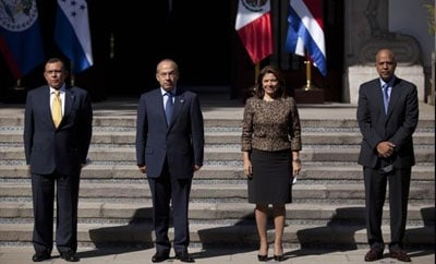 The leaders of Honduras, Mexico, Costa Rica and Belize (l-r)