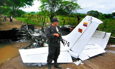 The crash site of a suspected narco-plane in Honduras