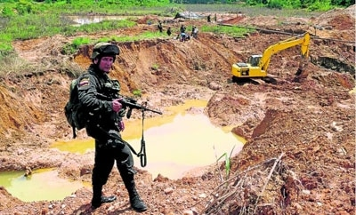 An illegal gold mine in Antioquia, Colombia