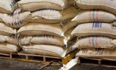 Bagged coffee ready for export