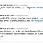 Tweets from the account of Anonymous Mexico