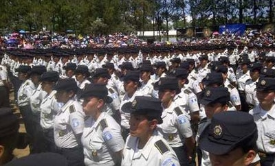 Graduating police officers in Guatemala