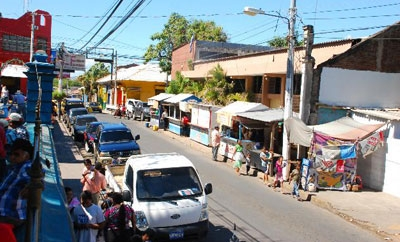 A street scene in La Union, El Salvador