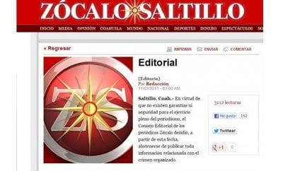 Zocalo newspaper group says it won't report on organized crime