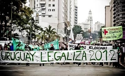 A pro-marijuana legalization march in Uruguay