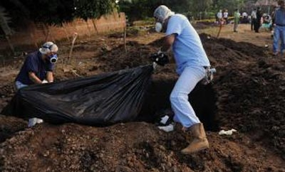 Body removed from clandestine grave in El Salvador