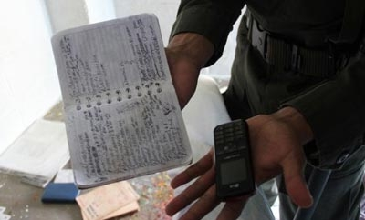 Extortion notebook found in a Colombian prison