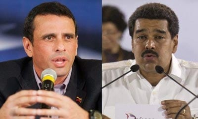 Candidates Capriles (left) and Maduro are talking security