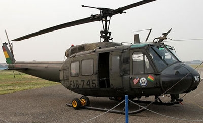 A UH-1H helicopter operating in Bolivia