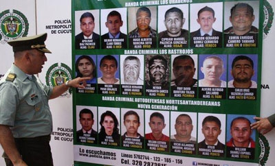 A poster of Colombia's most wanted criminals