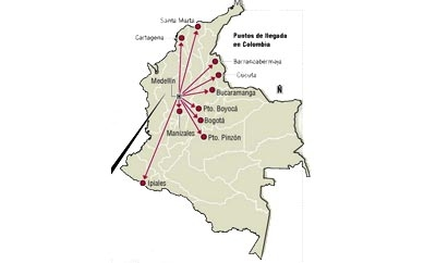 El Colombiano map of human trafficking from Medellin