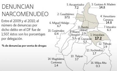 El Economista map of Mexico City drug dealing reports