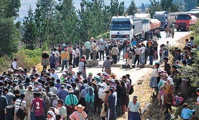 Coca growers' roadblock in Bolivia last year