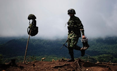 Soldier at raid on Panama coca plantation