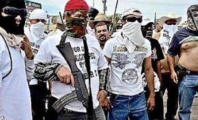 Members of a self-defense group in Michocan, Mexico