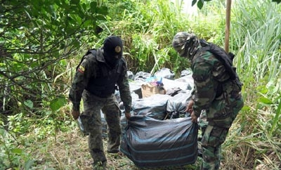 Marijuana seized in Esmeraldas, Ecuador
