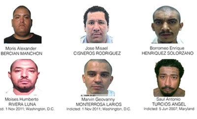 The six MS-13 leaders sanctioned by the US