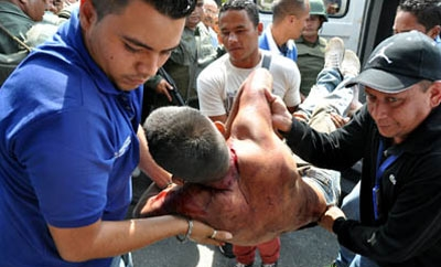 A scene from a violent riot in Venezuela's Uribana prison