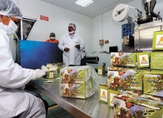Workers package coca tea at new plant in Bolivia