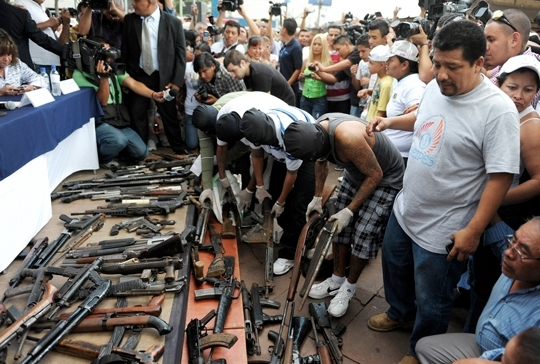 El Salvador gang members hand in weapons as part of the truce.