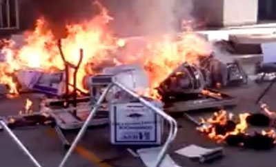 Voting booths burn in Mexicali, Baja California