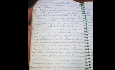 Notebook found in a Paraguay rebel camp