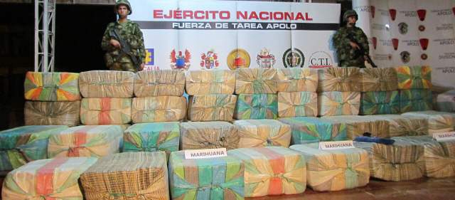 Marijuana seized by the Colombian army