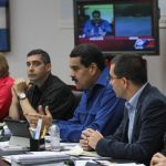 President Nicolas Maduro (center) presents border security plan