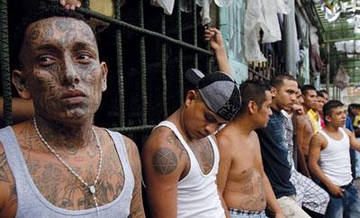 Barrio 18 gang members in a jail