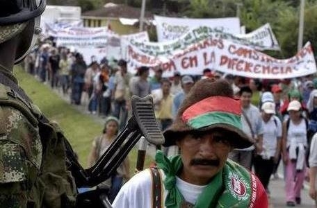 Colombians marching to reclaim land in Cali