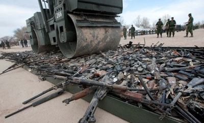 Guns destroyed in Ciudad Juarez, Mexico