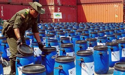 Colombian authorities interdict precursor chemicals
