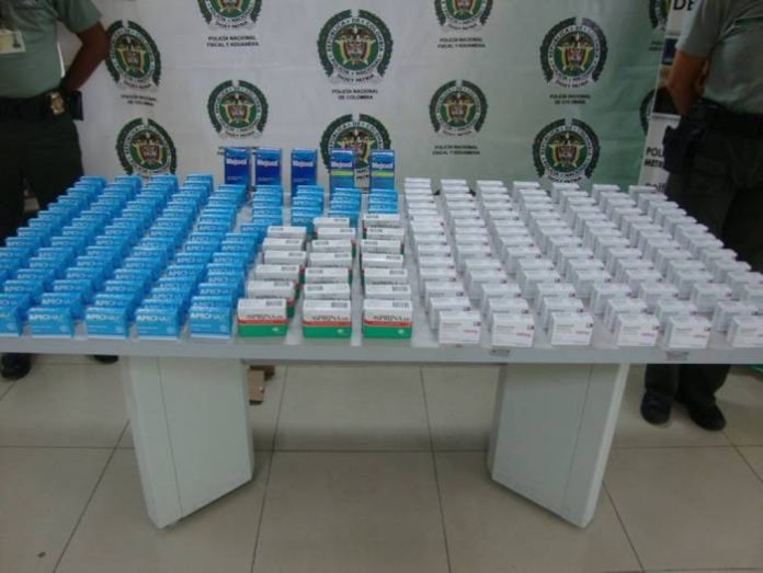 Counterfeit pharmaceuticals seized by police in Colombia.