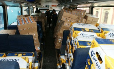 Contraband beer seized by Guatemalan authorities