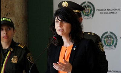 Interpol's Aline Plancon addresses journalists