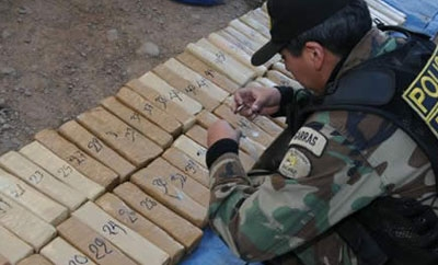 Cocaine seized by FELCN near Peruvian border