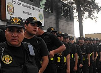 Officers from Peru's Investigative Police