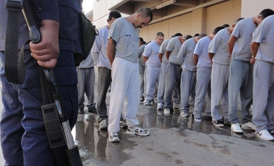 Prisoners line up at Cereso 3 jail in Juarez