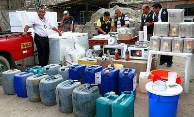 Precursor chemicals seized in Peru in 2012