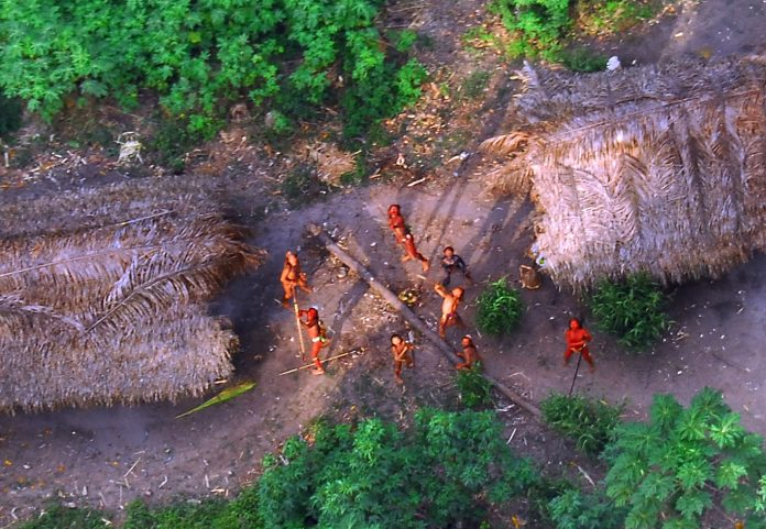 An uncontacted Brazilian tribe watches a government plane