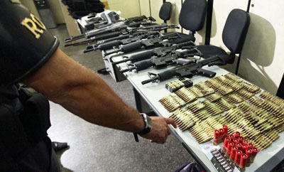 Weaponry confiscated in Sao Paulo in 2013