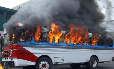 A bus burned in El Salvador in 2010